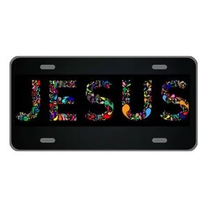 Custom license plate with colorful Jesus